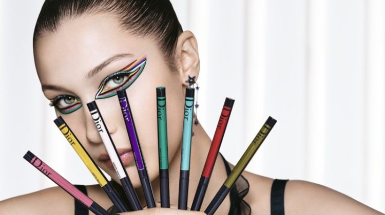 Model Bella Hadid poses with Diorshow On Stage Liner by Dior