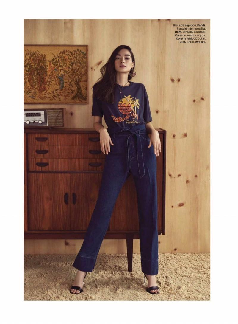 Bruna Tenorio Models 70's Inspired Denim for Glamour Mexico