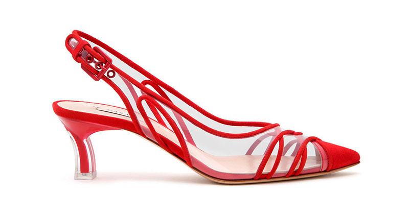 Casadei Kitten Plexi Blade Heels in Flame Red $870