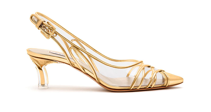 Casadei Kitten Plexi Blade Heels in Gold $870