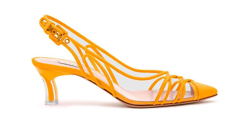 Casadei Kitten Plexi Blade Heels in Orange Crodino $870
