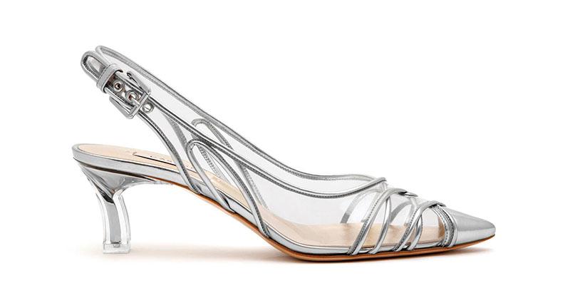 Casadei Kitten Plexi Blade Heels in Silver $870