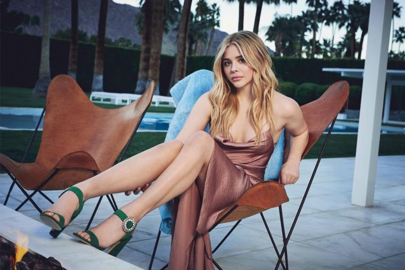 Chloe Grace Moretz poses in Jimmy Choo sandals