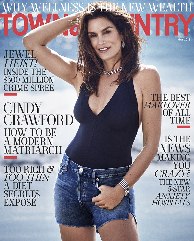 Cindy Crawford on Town & Country Magazine May 2018 Cover