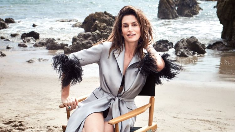 Cindy Crawford models Prada robe and Eres bra