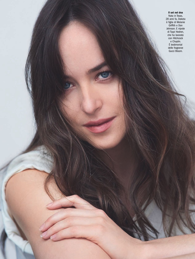 Dakota Johnson shows off a wavy hairstyle
