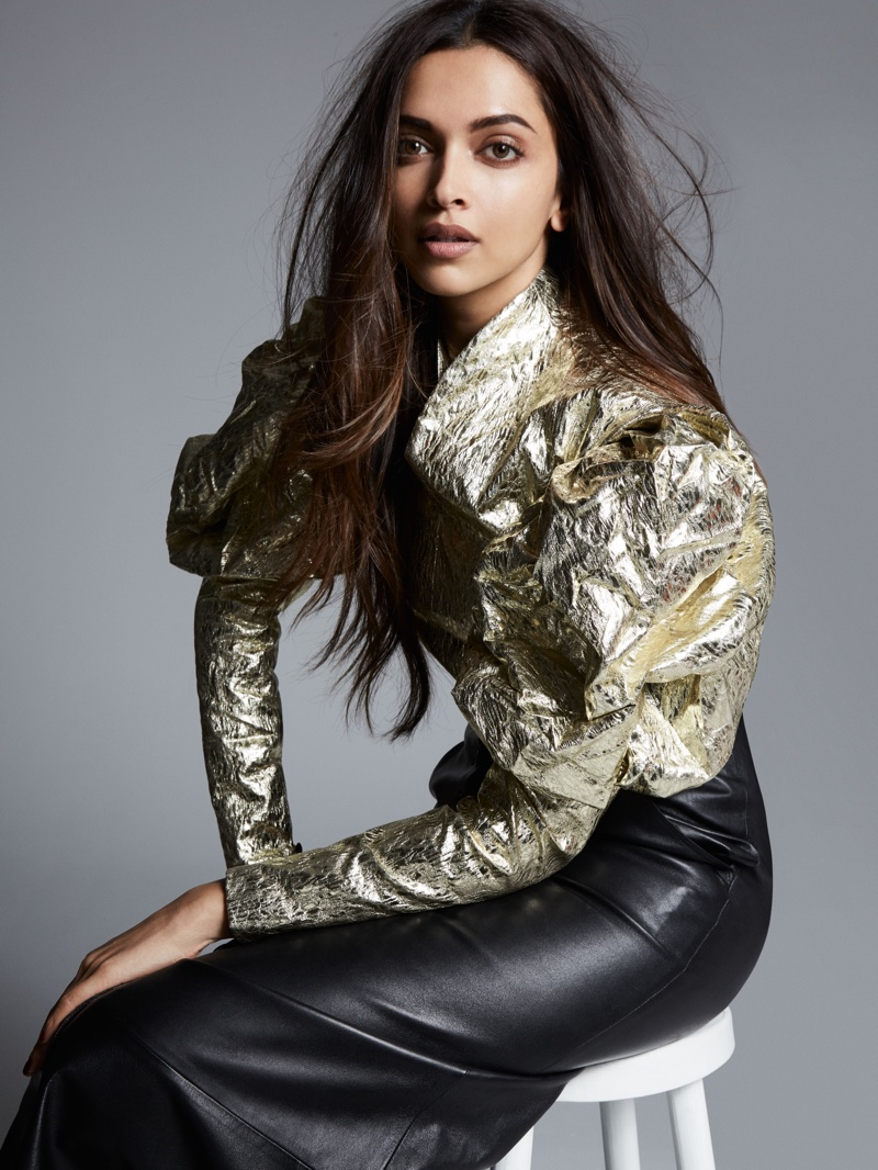 Turning up the shine factor, Deepika Padukone wears metallic blouse and leather skirt