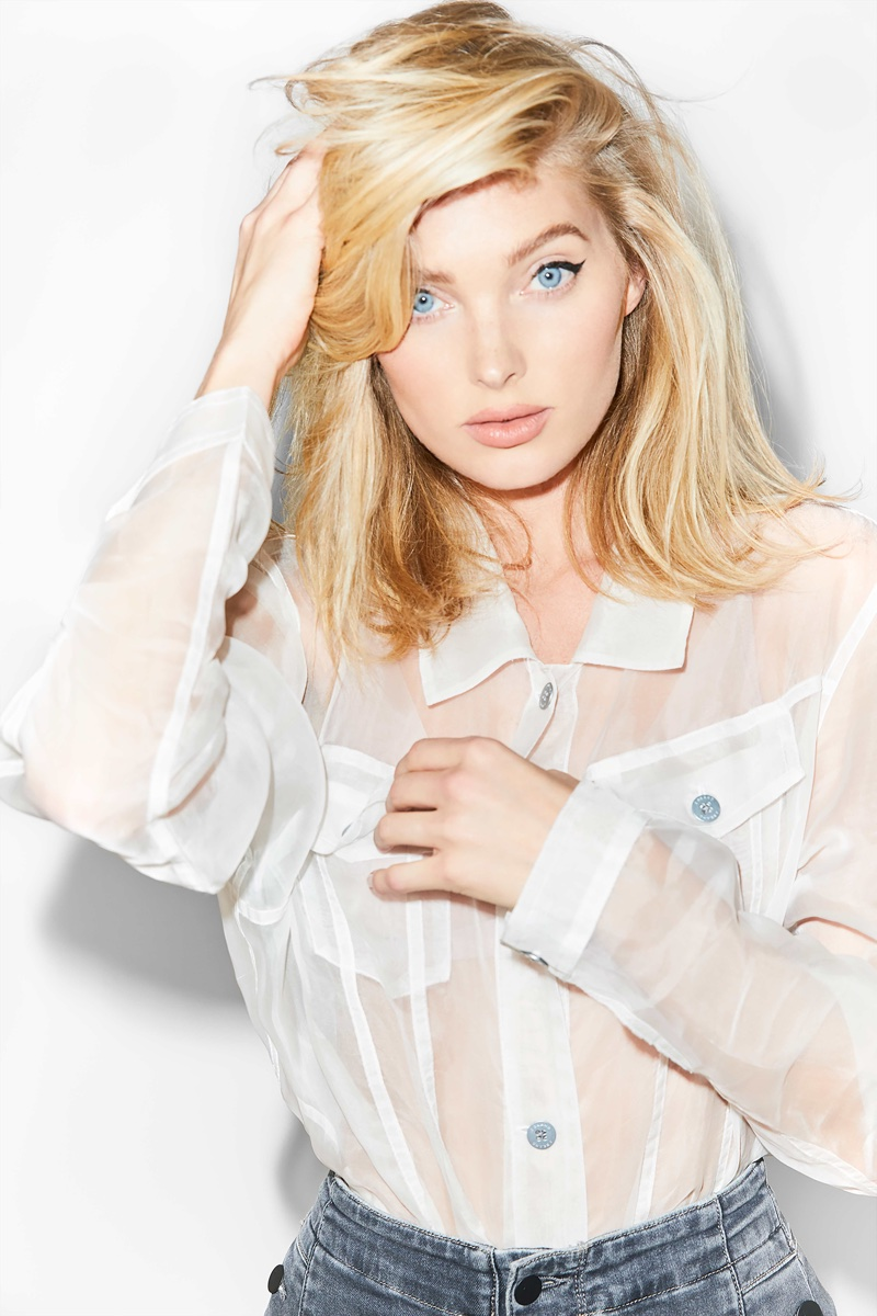 Model Elsa Hosk wears Cyra oversized jacket in J Brand's summer 2018 campaign