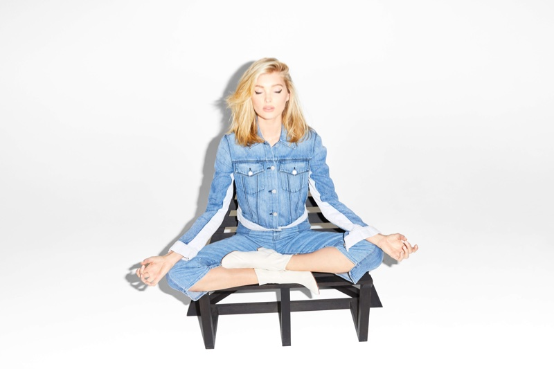Model Elsa Hosk poses in double denim for J Brand's summer 2018 campaign