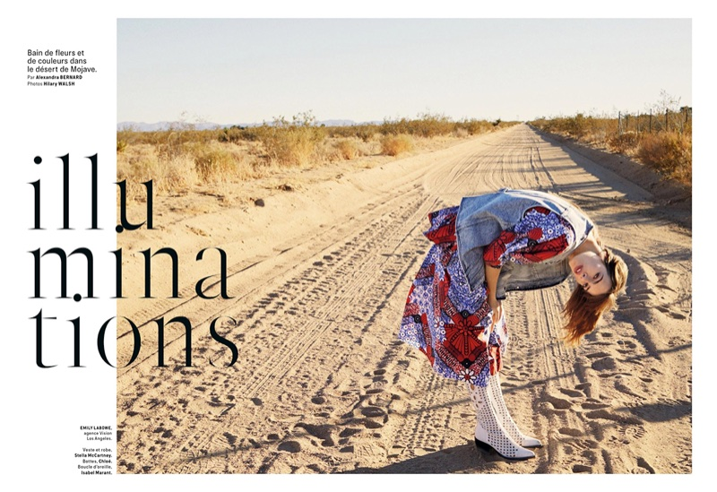 Emily Labowe Models Desert-Ready Fashions for Grazia France