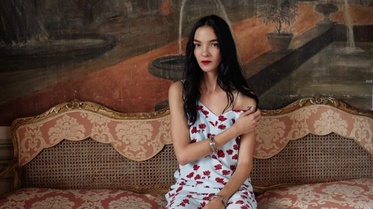 Mariacarla Boscono poses in floral print dress for Equipment's spring-summer 2018 campaign