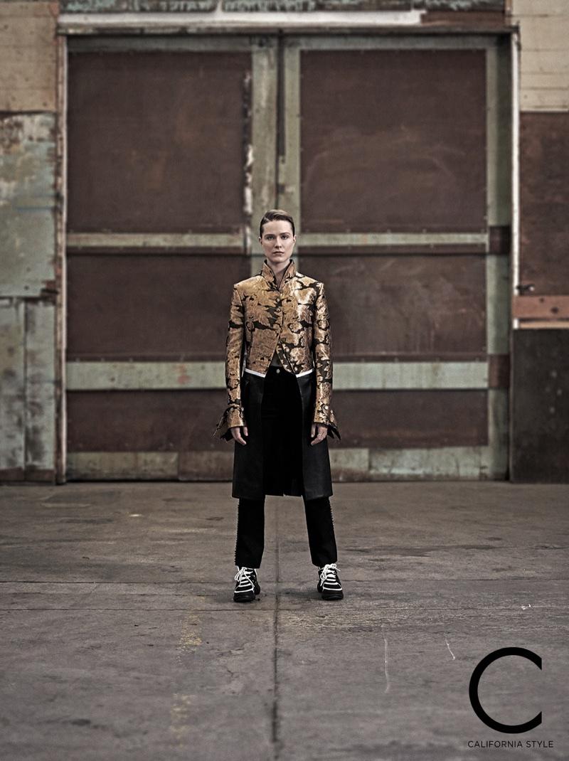 Actress Evan Rachel Wood wears Louis Vuitton coat, pants and shoes