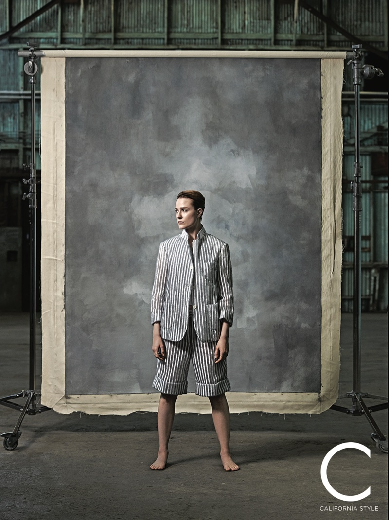Suiting up, Evan Rachel Wood wears Thom Browne jacket and shorts