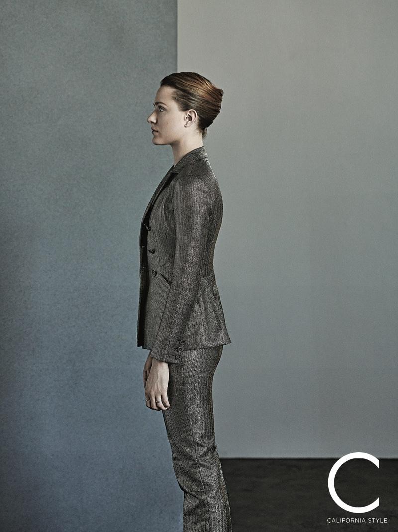 Actress Evan Rachel Wood poses in Dior jacket and pants