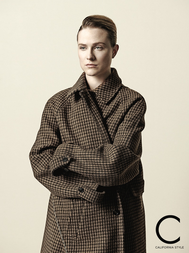 Covering up, Evan Rachel Wood poses in Balenciaga coat