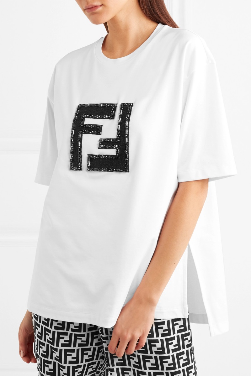 Fendi Embellished Lamé Stretch-Cotton Jersey T-Shirt $770
