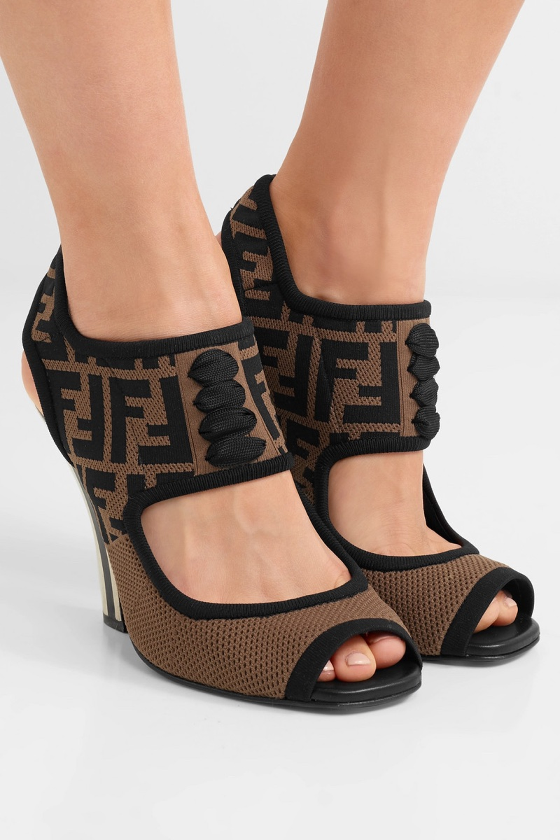Fendi Logo-Jacquard Stretch-Mesh Sandals $1,100