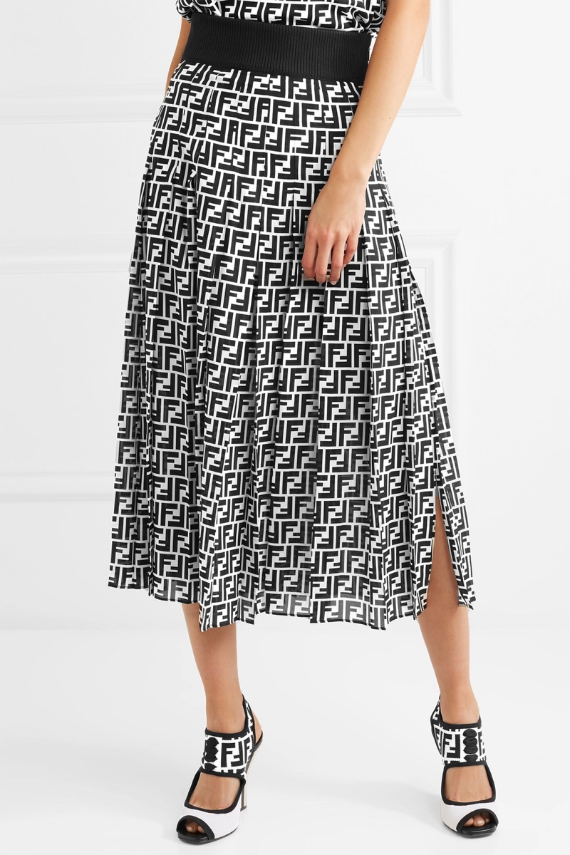 Fendi Printed Silk-Georgette Midi Skirt $1,980