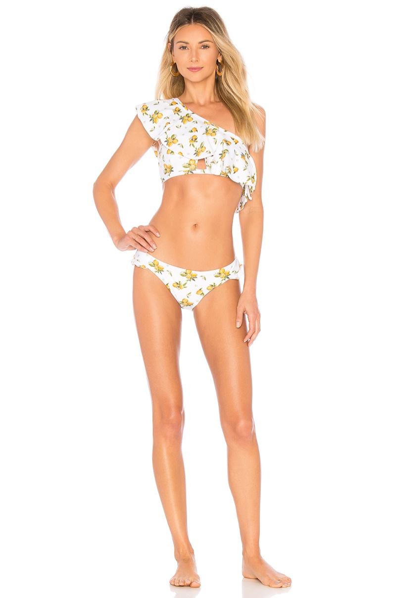 For Love & Lemons Tropicana Bandeau Bikini $163 and Tropicana Ruffle Bottom $97