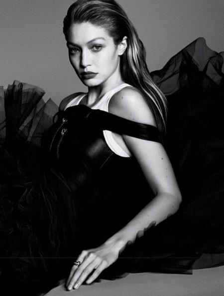 Gigi Hadid Stuns in Black & White for Vogue Japan