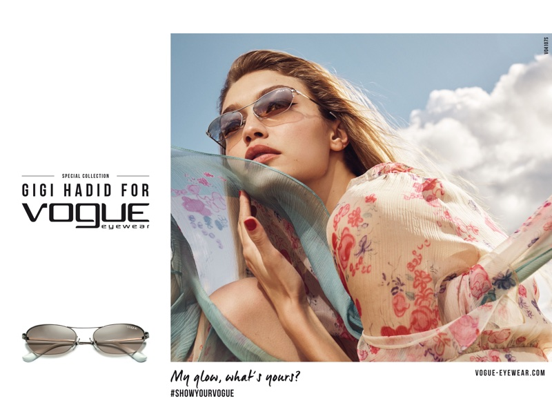 Supermodel Gigi Hadid poses in chic sunglasses for Vogue Eyewear 2018 collaboration