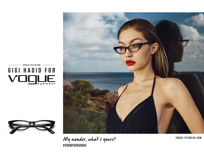 Gigi Hadid models cat-eye frame for 2018 Vogue Eyewear campaign