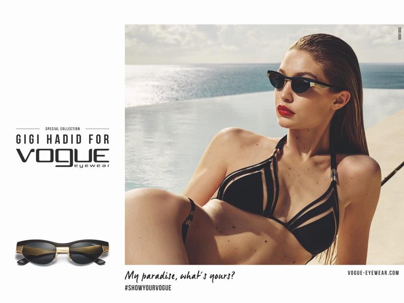 Wearing a bikini, Gigi Hadid fronts Vogue Eyewear 2018 campaign