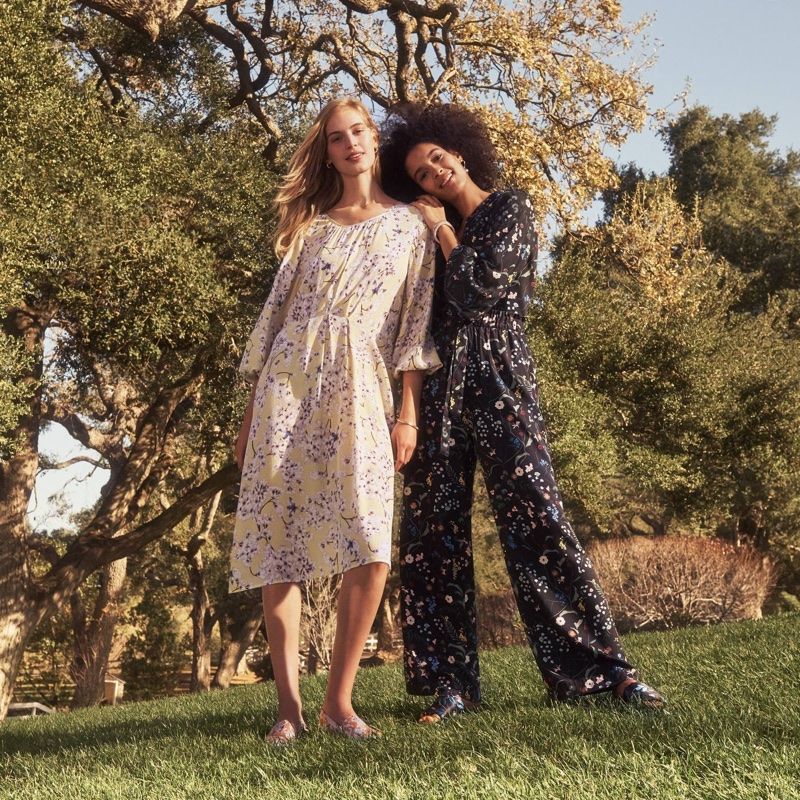 (Left) H&M x Anna Glover Textured-Weave Dress and Satin Espadrilles (Right) H&M Patterned Jersey Top and Paper-Bag Pants