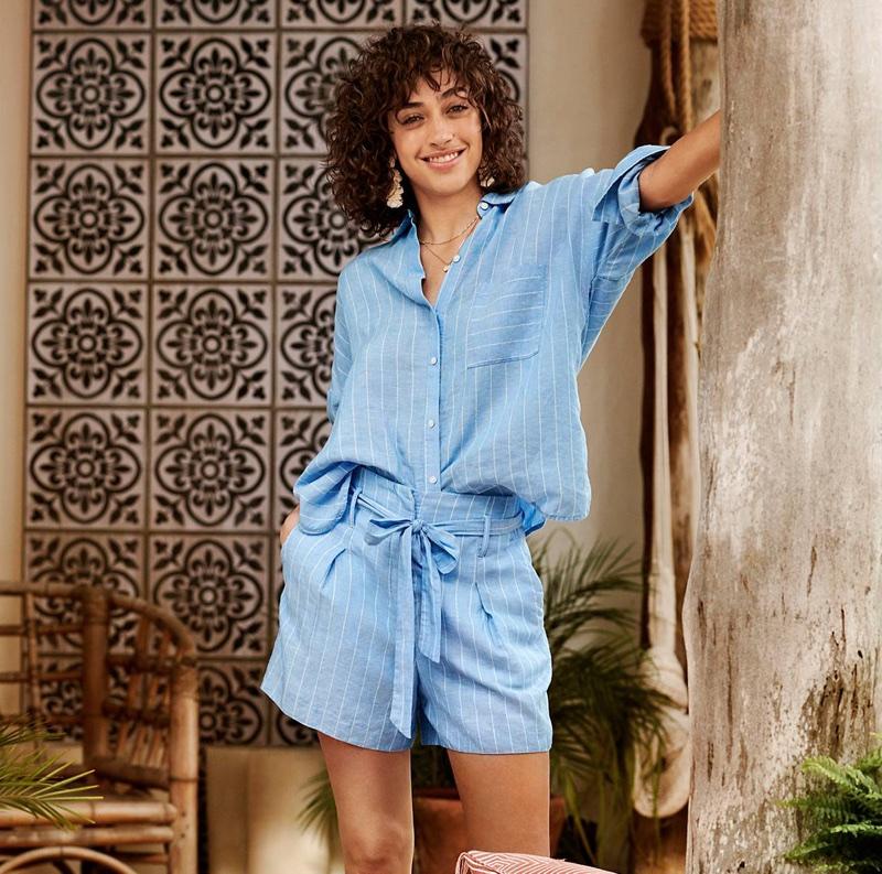 H&M Wide-Cut Linen-Blend Shirt and Shorts