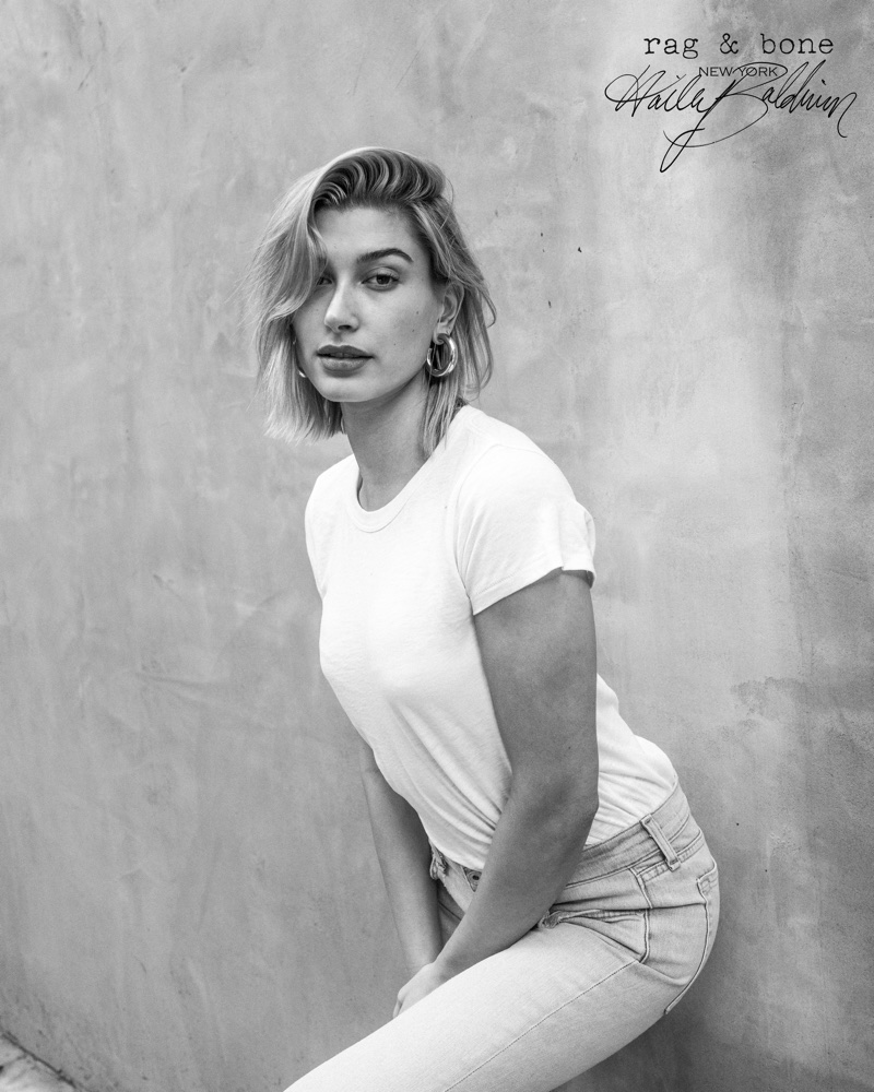 Captured in black and white, Hailey Baldwin fronts Rag & Bone D.I.Y. Project for 2018