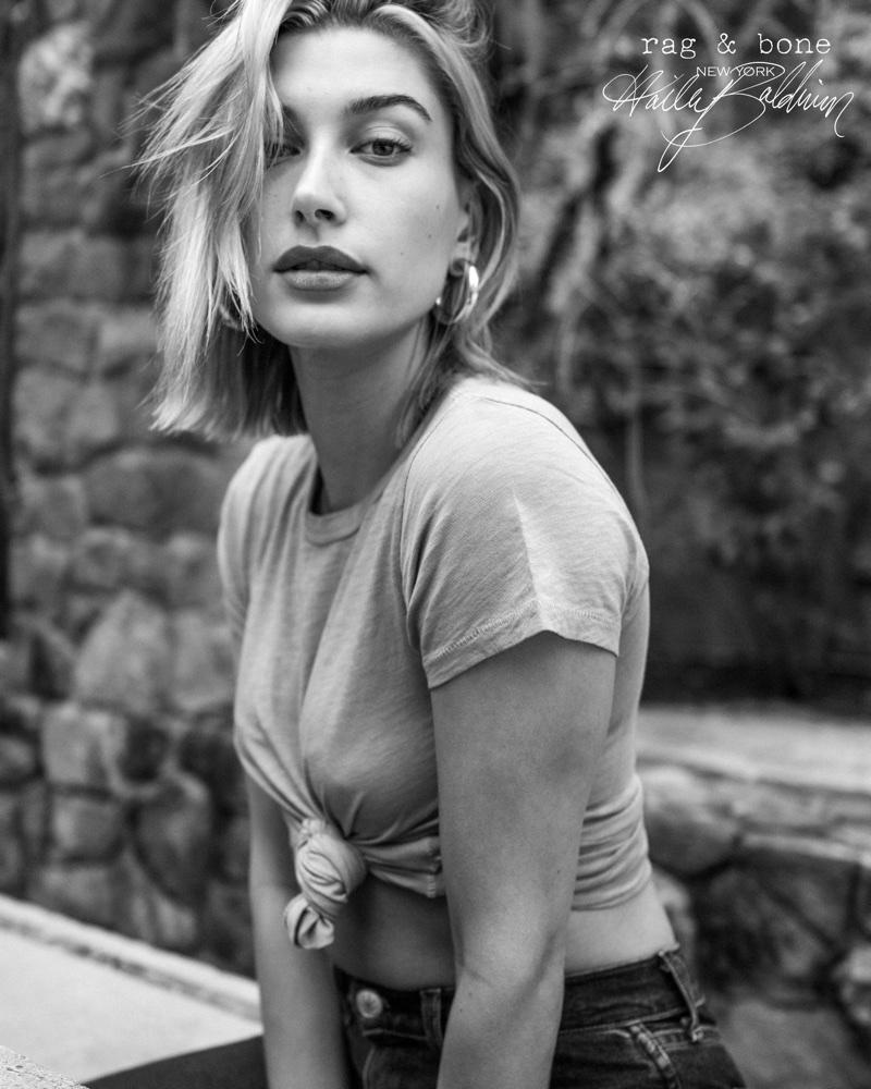 Model Hailey Baldwin poses in denim for Rag & Bone 2018 D.I.Y. Project