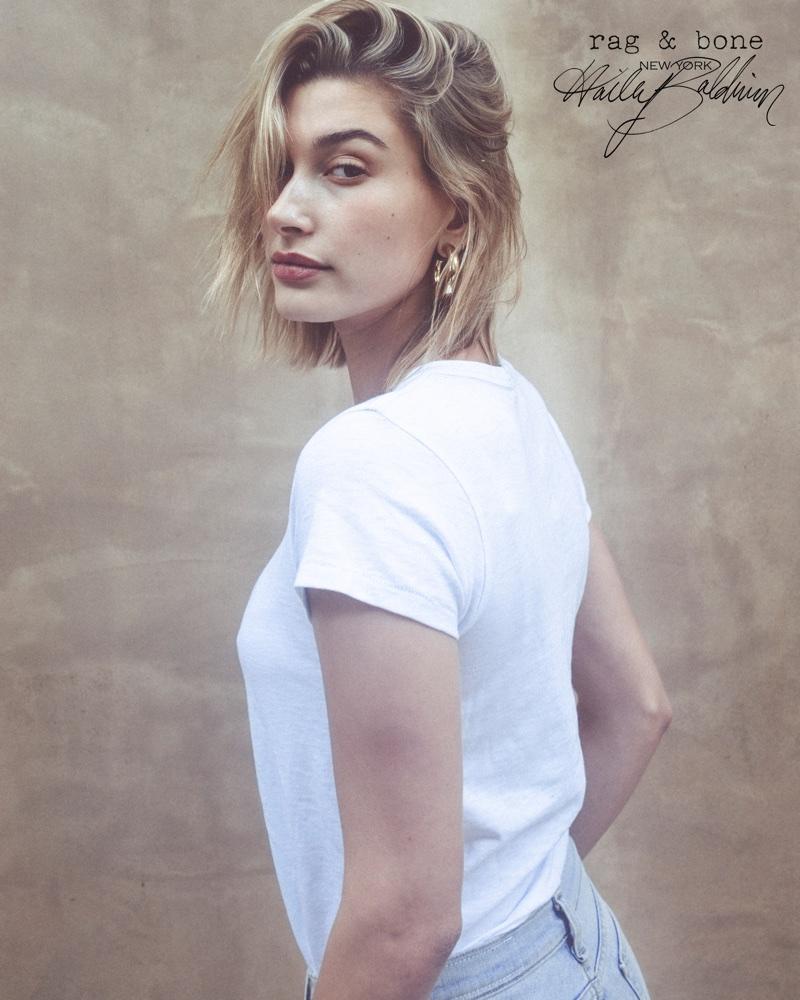 Hailey Baldwin wears a simple white tee in Rag & Bone D.I.Y. Project