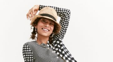 J. Crew Cotton Jackie Cardigan in Gingham, High-Waisted Bikini Bottom in Oversized Matte Gingham, Packable Straw Hat and Fan Rattan Clutch