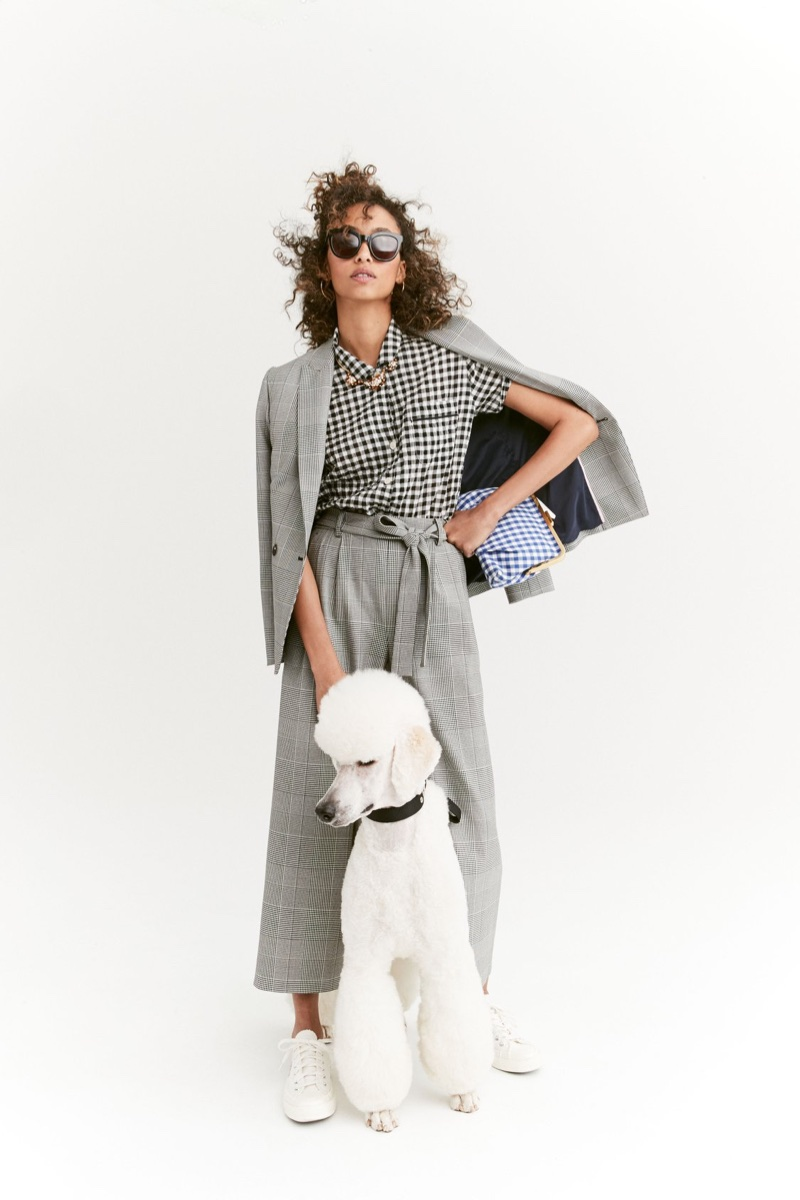 J. Crew Gingham Pajama Top, Pleated Wide-Leg Pant in Glen Plaid, Frame Clutch and Cabana Oversized Sunglasses