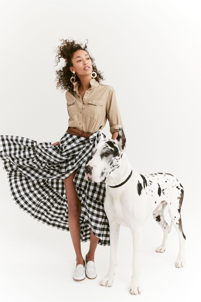 J. Crew Fatigue Oversized Boy Shirt and Gingham Ruffle Wrap Skirt