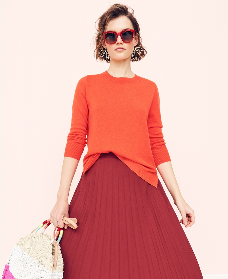 J. Crew Everyday Cashmere Crewneck Sweater, Pleated Midi Skirt, Cherry Earrings and Circle Straw Tote in Colorblock