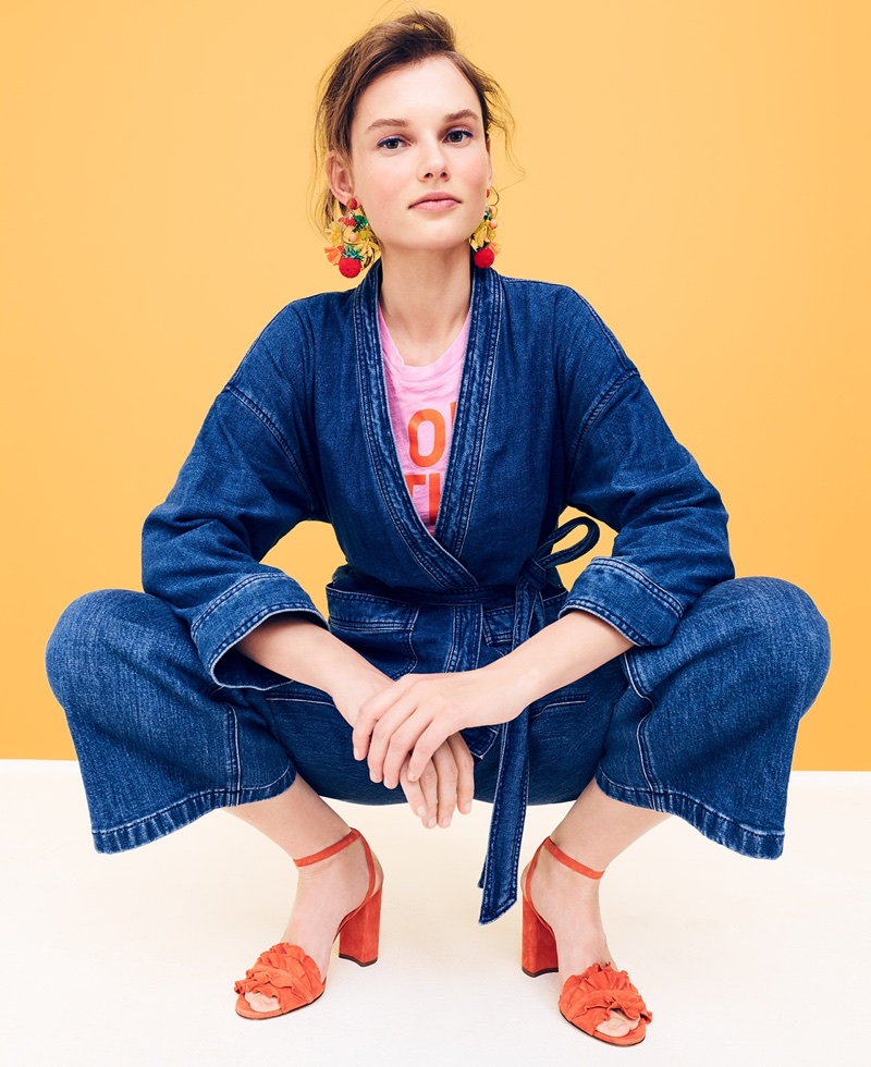 J. Crew Denim Wrap Jacket in Deep Indigo Wash, On the Bright Side T-Shirt, Fruit Bowl Earrings and Ruffle-Strap Heels in Suede