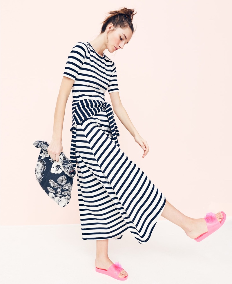 J. Crew Striped Knit Maxi Dress, Canvas Tote in Palm Tree and Pink Blossom Pool Slides