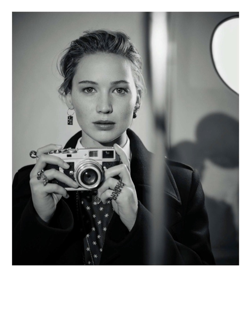 Posing with a camera, Jennifer Lawrence appears in Dior's pre-fall 2018 campaign