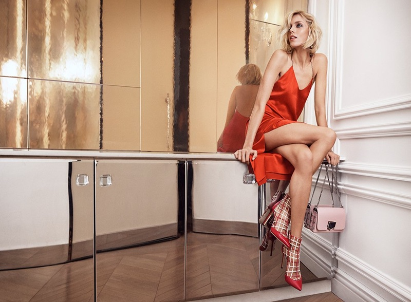 Anja Rubik looks red-hot in Jimmy Choo's pre-fall 2018 campaign