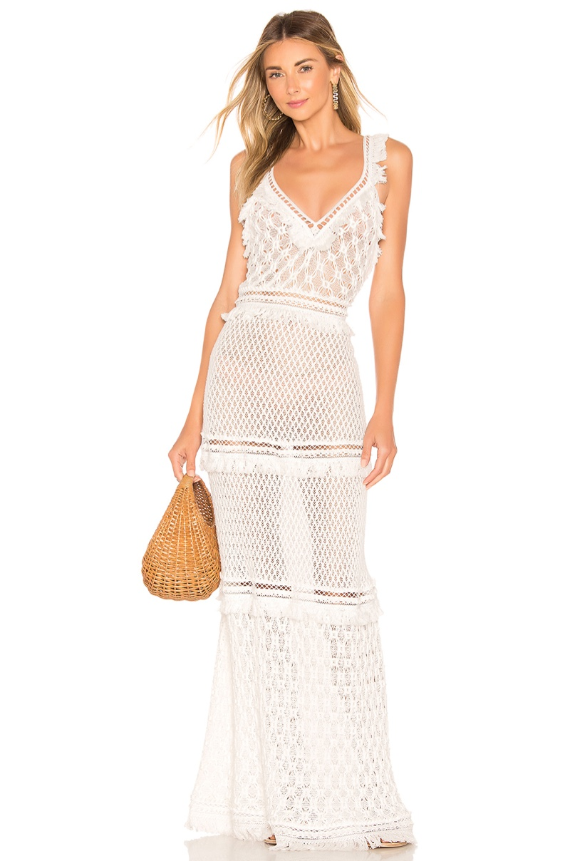 Jonathan Simkhai Lace Combo V Neck Maxi Dress $795