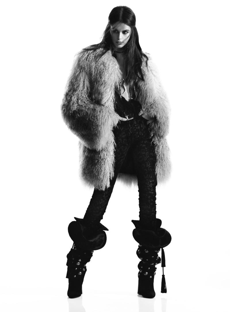 Model Kaia Gerber wears fur coat in Saint Laurent's fall 2018 campaign