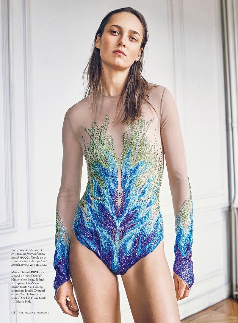 Karmen Pedaru Wears Sequins & Metallics for Air France Madame