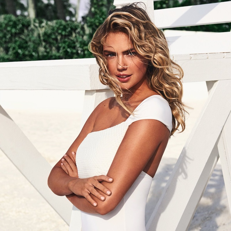 Model Kate Upton poses in one-shoulder swimsuit from Yamamay