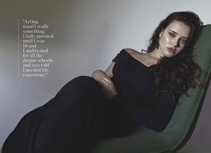 Actress Katherine Langford wears Beaufille dress and Dinosaur Designs earrings