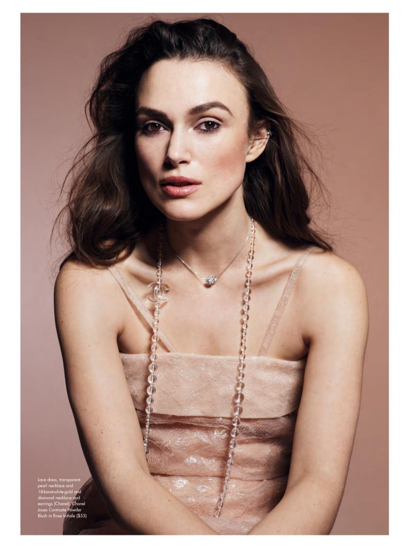 Actress Keira Knightley wears Chanel lace dress, necklace and earrings