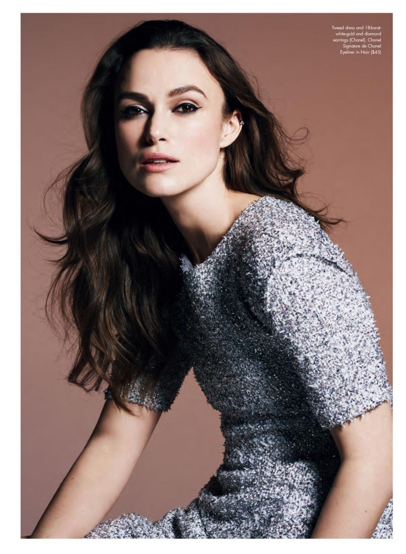 Keira Knightley poses in Chanel metallic tweed dress and earrings