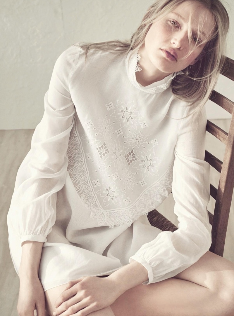 Leah Rodl Poses in Dreamy White Fashions for Harper's Bazaaar Germany