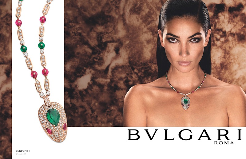 Model Lily Aldridge fronts Bulgari Serpenti jewelry campaign