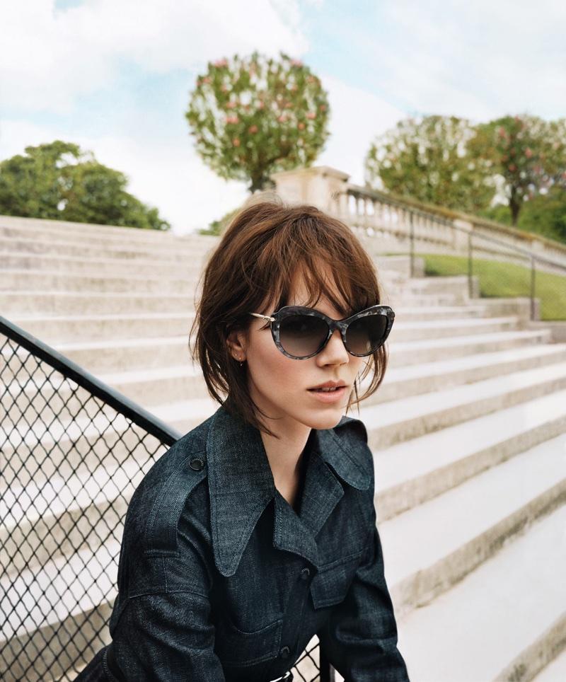 Freja Beha Erichsen models sunglasses in Longchamp's spring-summer 2018 campaig